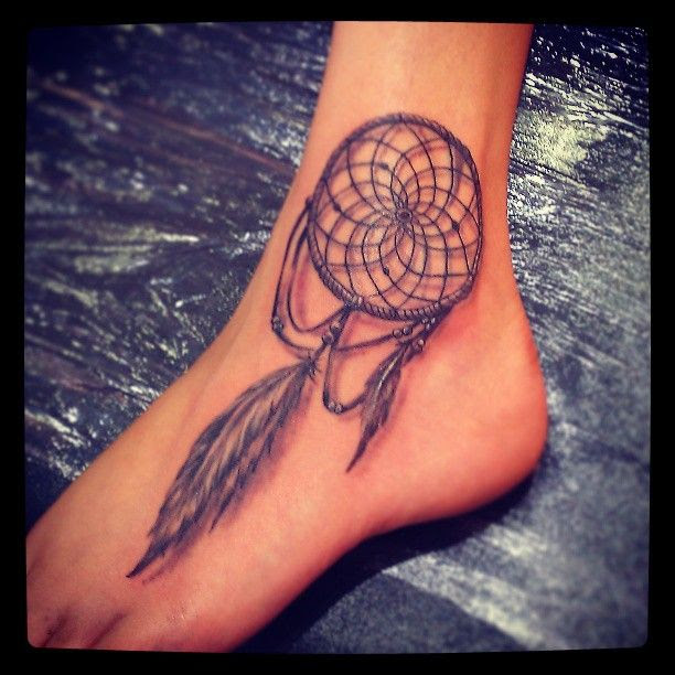 Beautiful Grey Ink Dreamcatcher Tattoo On Left Foot