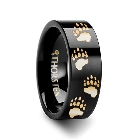 Animal Track Bear Paw Print Engraved Ring Black Tungsten