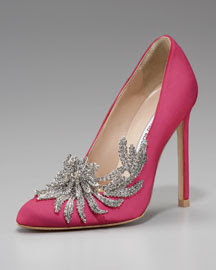 Manolo Blahnik Swan Embellished Satin Pump, Cranberry