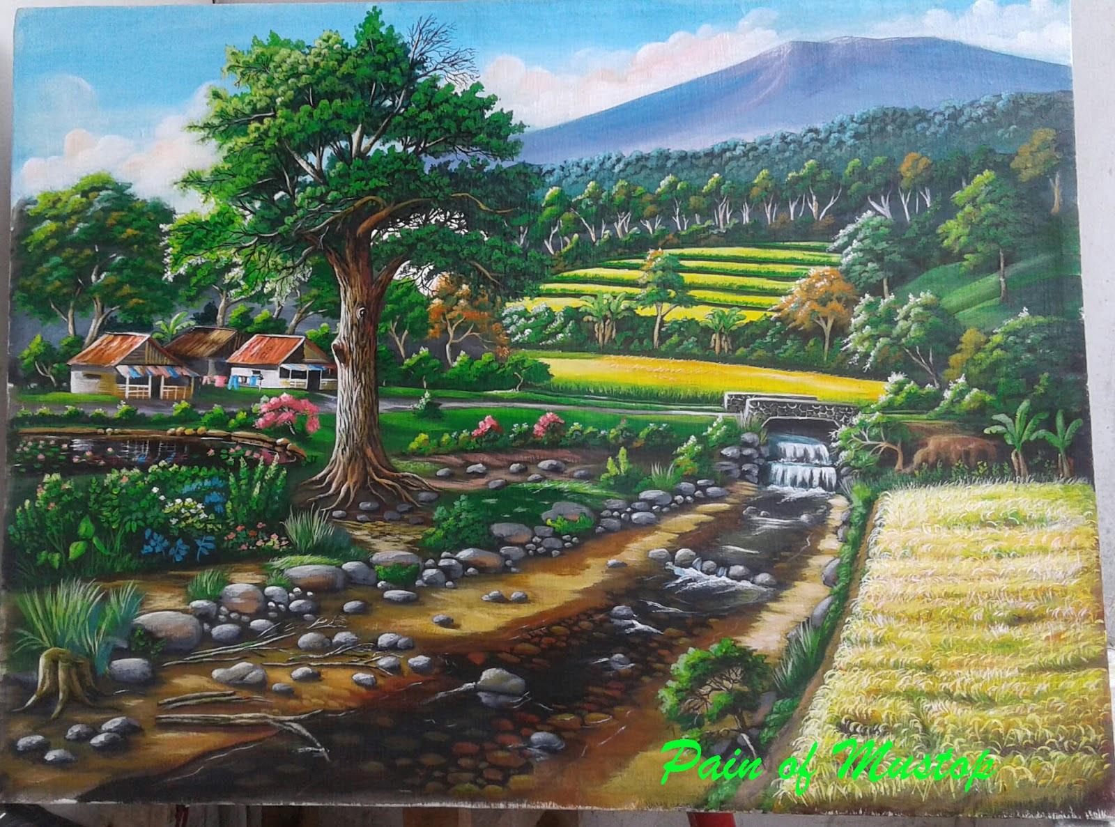 720 Lukisan Pemandangan Pedesaan Sederhana HD Terbaru