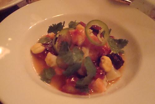 Prawn & Scallop Ceviche, Aji Amarillo, Red Berries
