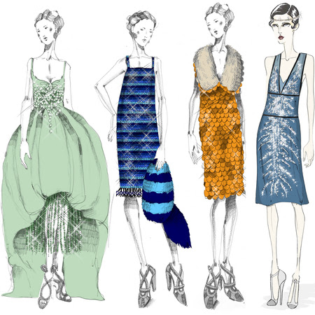 Miuccia Prada sketches of costumes for The Great Gatsby film
