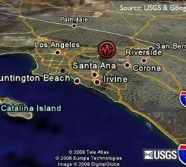 A 5.4-magnitude earthquake strikes Southern California at 11:42 AM, on July 29, 2008.