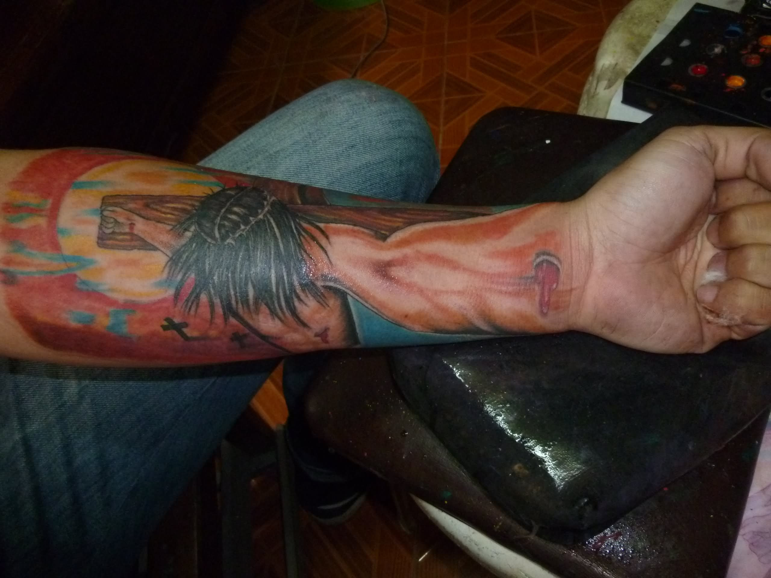 3d Jesus Cross Tattoo On Left Forearm
