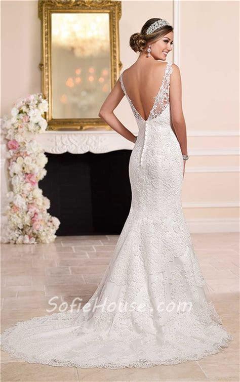 Mermaid Bateau Illusion Neckline Low V Back Lace Wedding