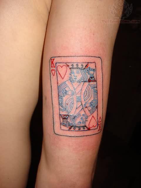 King Card Tattoo On Bicep
