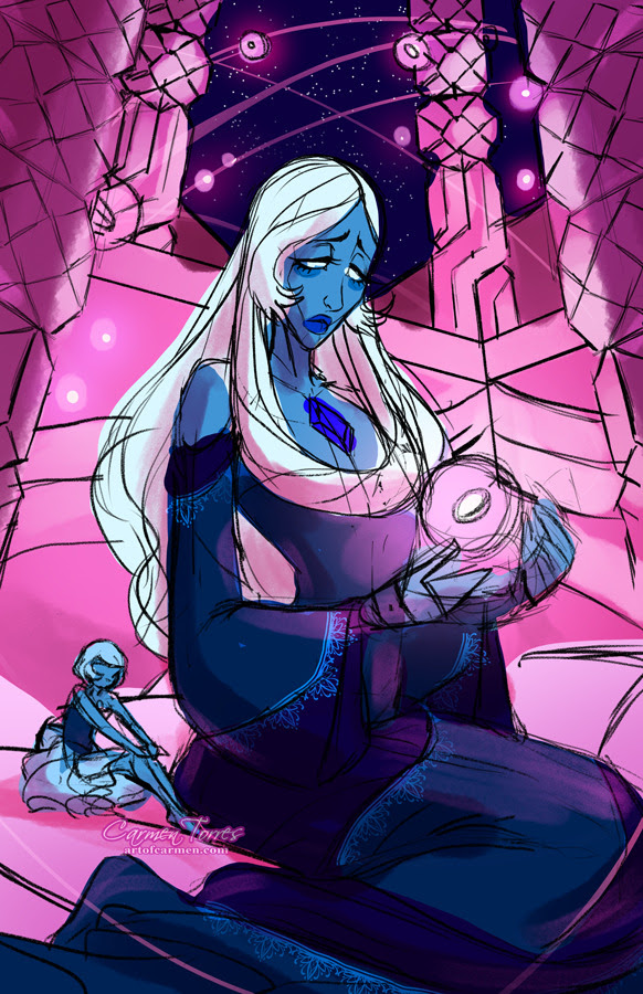 Got caught up on Steven Universe, and did not expect blue diamond to look like a Leiji Matsumoto character. Absolutely had to sketch her.