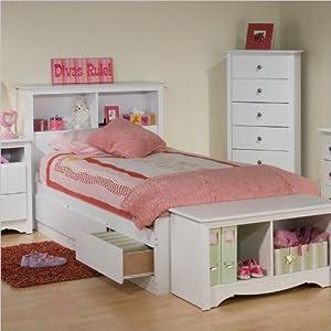 Amazon.com: Platform Storage Bed w/ Bookcase Headboard White/Twin ...