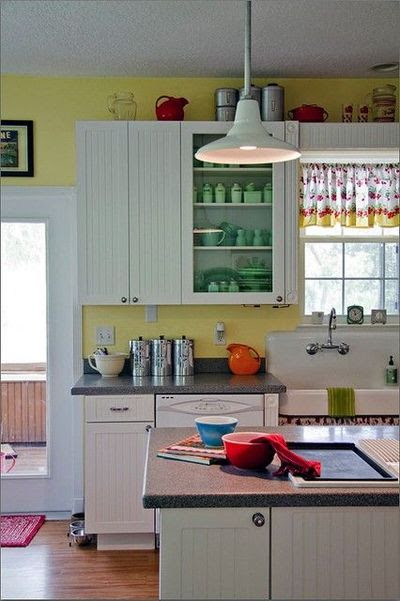 yellow walls, white cabinets / For my kitchen - Juxtapost