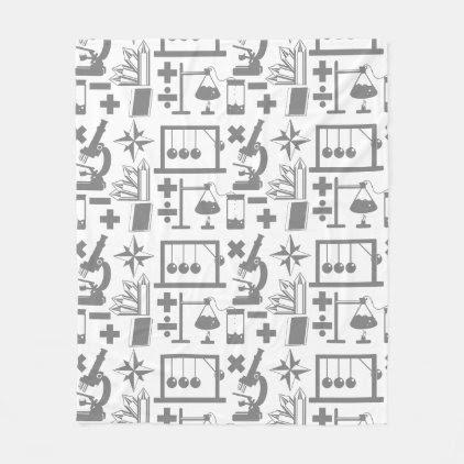 Science Biology Physics Geography Math Pattern Fleece Blanket