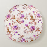 Purple Gold Roses Round Pillow