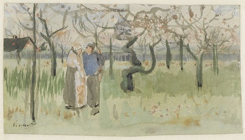 Orchard in blossom with two figures, spring - October 1882 (271)