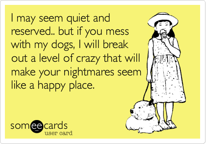 someecards.com - I may seem quiet and reserved.. but if you mess with my dogs, I will break out a level of crazy that will make your nightmares seem like a happy place.