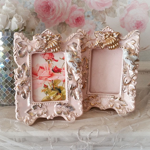 Shabby Cottage Vintage Pink Gold Bird Frames Set 2
