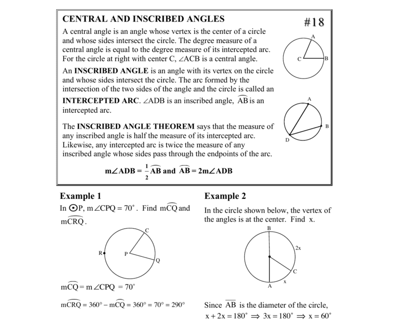 Inscribed Angle Worksheet With Answers - Worksheet List