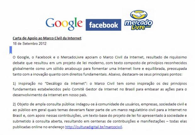 Nota das empresas apoiando o Marco Civil da Internet está na web (Foto: Reprodução)