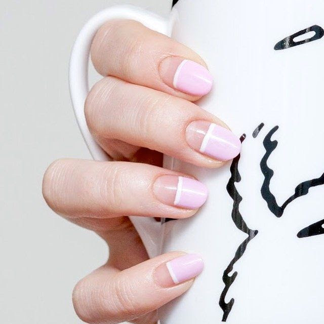 Le Fashion Blog Minimal Nail Art Baby Pink Nail Polish White Striped Manicure Inspiration Via Sephora