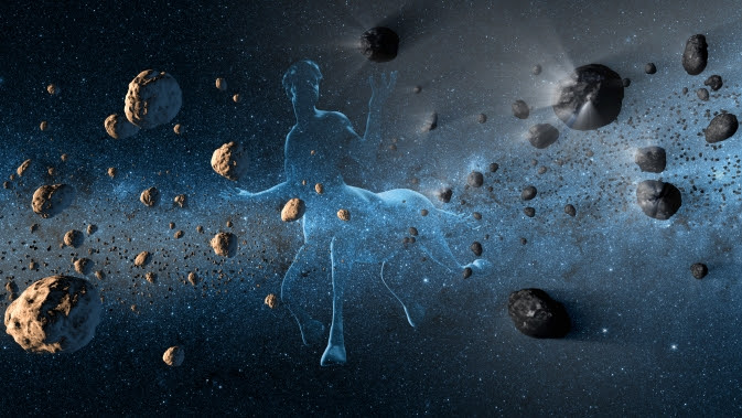 Artist's concept shows a Centaur creature together with asteroids