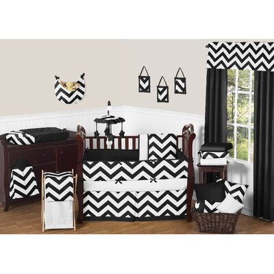 Chevron 9 Piece Crib Bedding Set Color: Black and White