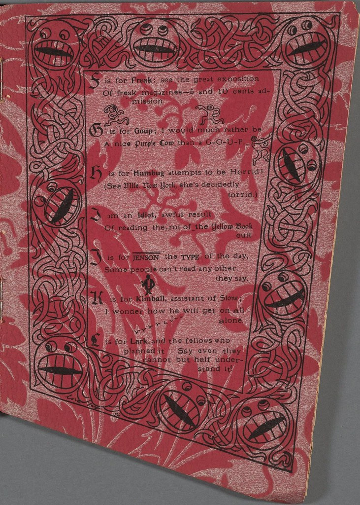 alphabetical list inside border of absurd heads/spaghetti on red-patterned paper