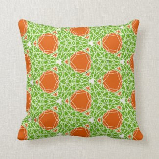 Mod Orange and Green Throw Pillow