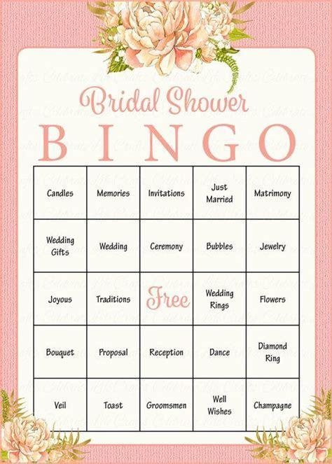 100 Bridal Bingo Cards   Floral Bridal Shower Bingo Game