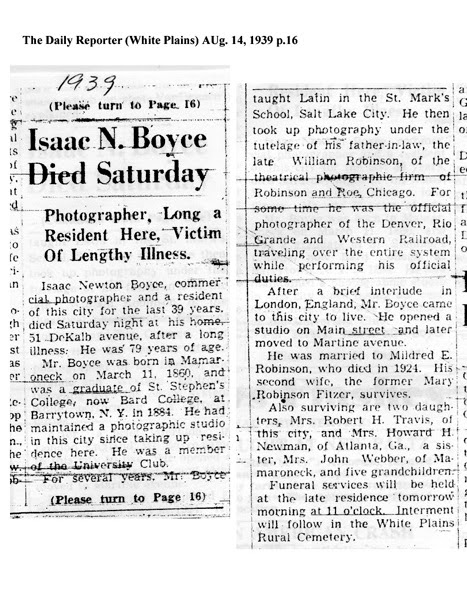 Isaac Newton Boyce 1939 Obituary