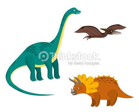 Cute Dibujos Animados Coloridos Dinosaurios Juego Ilustracion De