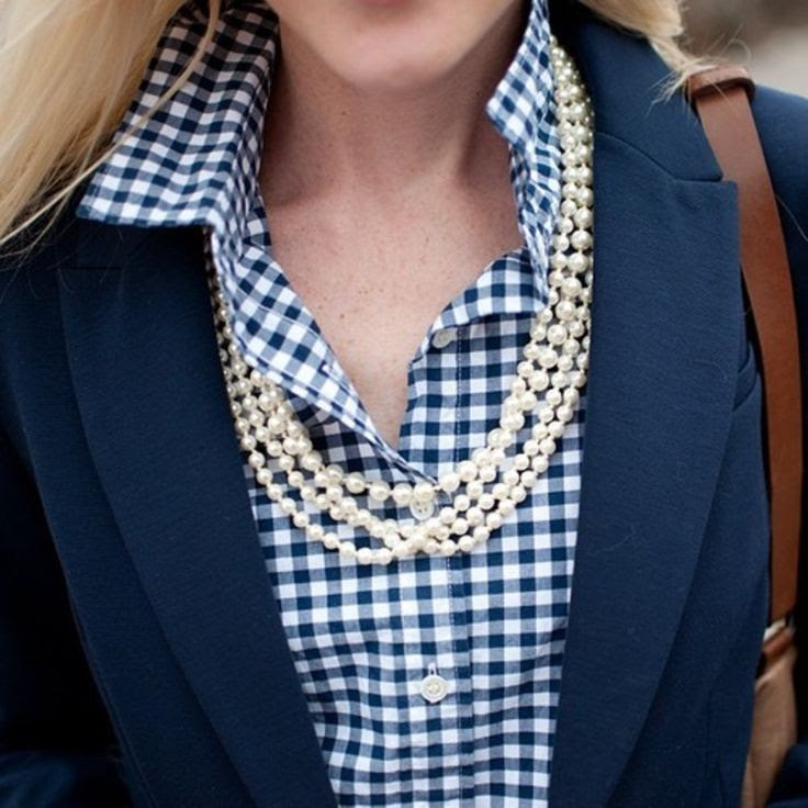 Jcrew gingham, blazer and pearls.