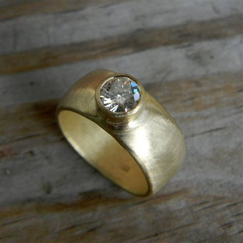 Chunky Gold Engagement Ring, Round Moissanite Wide Band