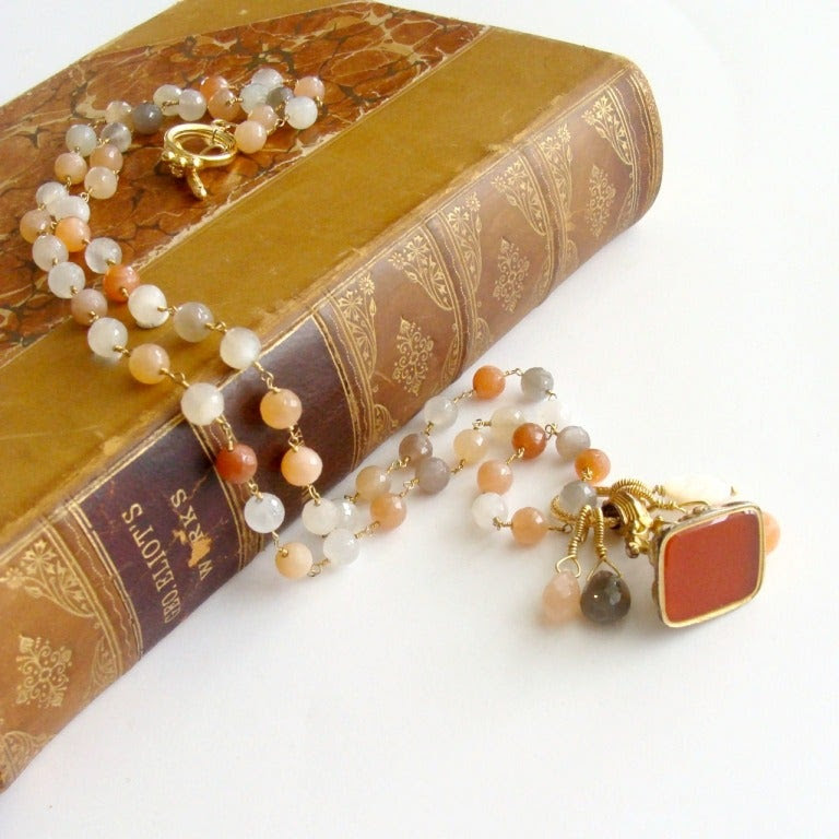 Multicolored Moonstone Necklace Antique Gilt Carnelian Fob - Elise III Necklace image 4
