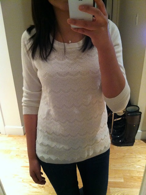 Banana Republic Lace-front sweater, sz PS (product no. 195927)