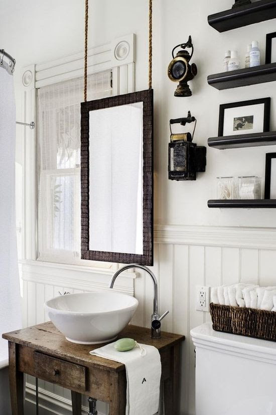 A hanging mirror is a great alternative when drilling the wall is not possible!