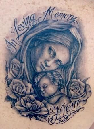 Grey Ink Loving Memory Mom Tattoo