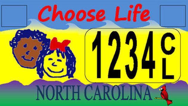 North Carolinas Choose Life license plate.