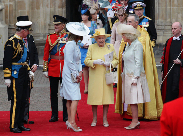 TRH (L-R) Prince Charles, Prince of Wales, Prince Philip, Duke of Edinburgh, Queen Elizabeth II and Camilla, Duchess of Cornwall speak following the marriage of Prince William, Duke of Cambridge and Catherine, Duchess of Cambridge at Westminster Abbey on April 29, 2011 in London, England. The marriage of the second in line to the British throne was led by the Archbishop of Canterbury and was attended by 1900 guests, including foreign Royal family members and heads of state. Thousands of well-wishers from around the world have also flocked to London to witness the spectacle and pageantry of the Royal Wedding.