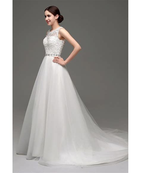Cheap Elegant Petite Lace Wedding Dress With Sheer Back #