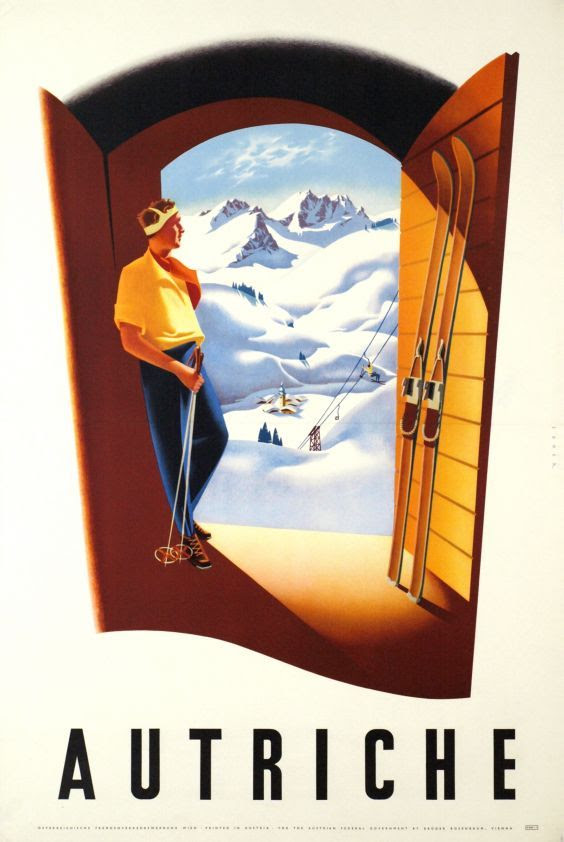 vintage ski poster. Austia, The door to wintersport. circa 1950