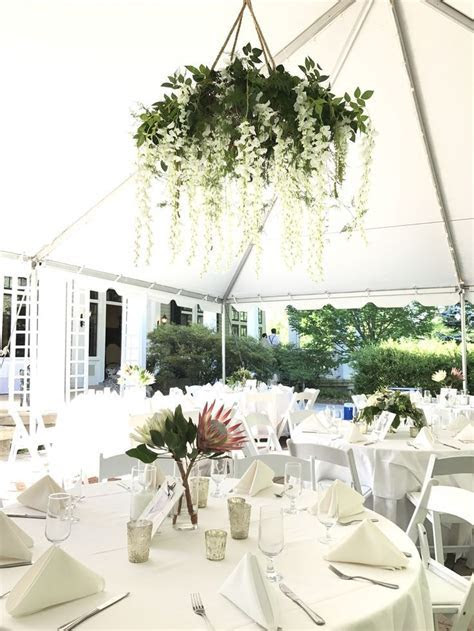 Floral chandelier with greenery and white wisteria   Home