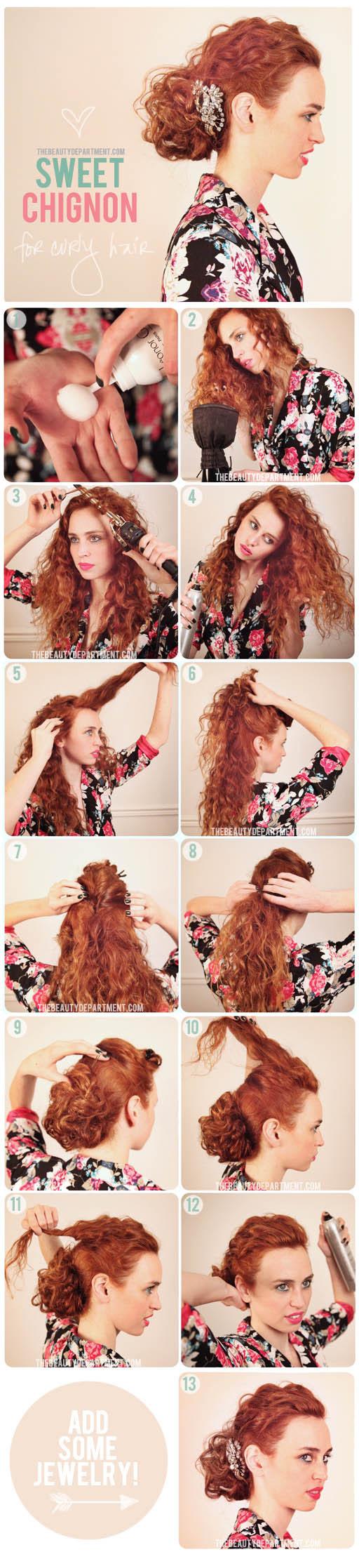 10 tutorial per avere dei fantastici capelli raccolti! - acconciature capelli ricci tutorial