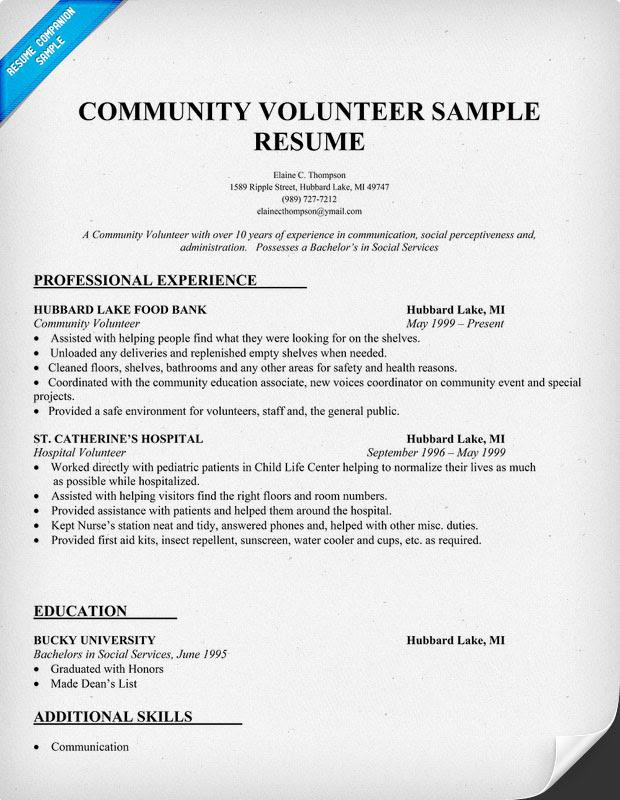 resume format resume examples volunteer experience