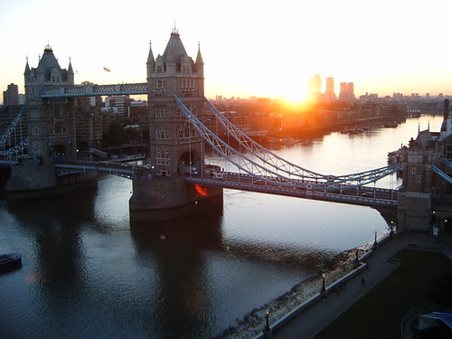 Sunrise over Tower Bridge from City Hall