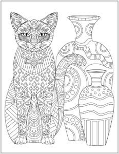 cat stress relieving patterns designs coloring book