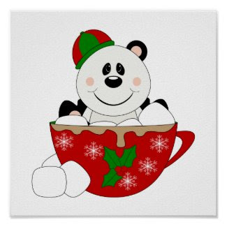 Cutelyn Christmas Mug Panda Bear Posters