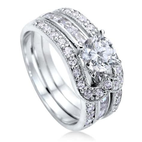 Sterling Silver 925 Round Cubic Zirconia CZ Solitaire