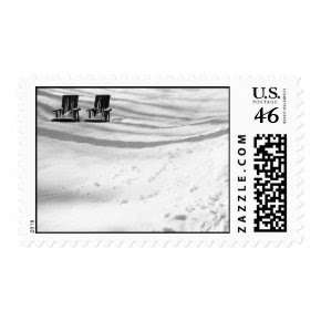 Two Chairs Buried In Snow - Medium stamp