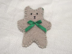 Felted and Hand-Embroidered Bear