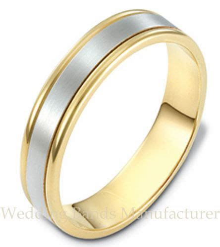 14k Yellow White Two Tone Gold Wedding Band Mens Man Satin