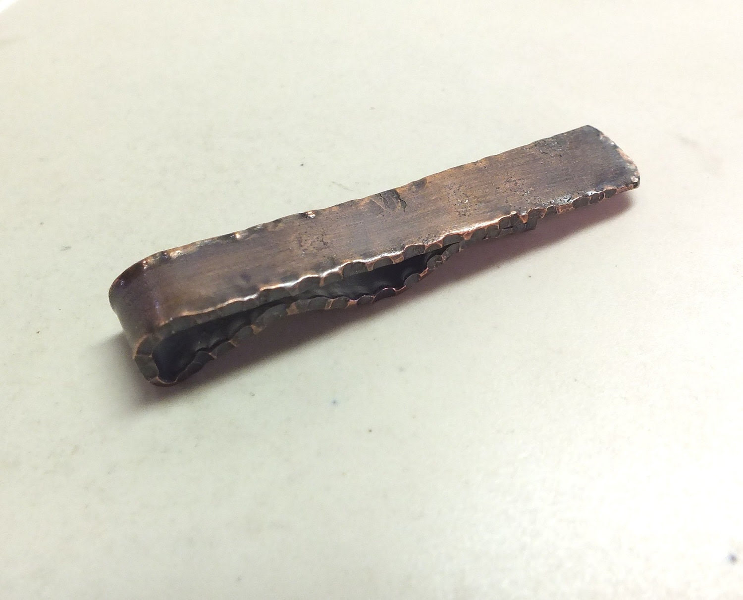 Mens Copper Tie Clip---Textured with Pleated Edging in Antique Finish