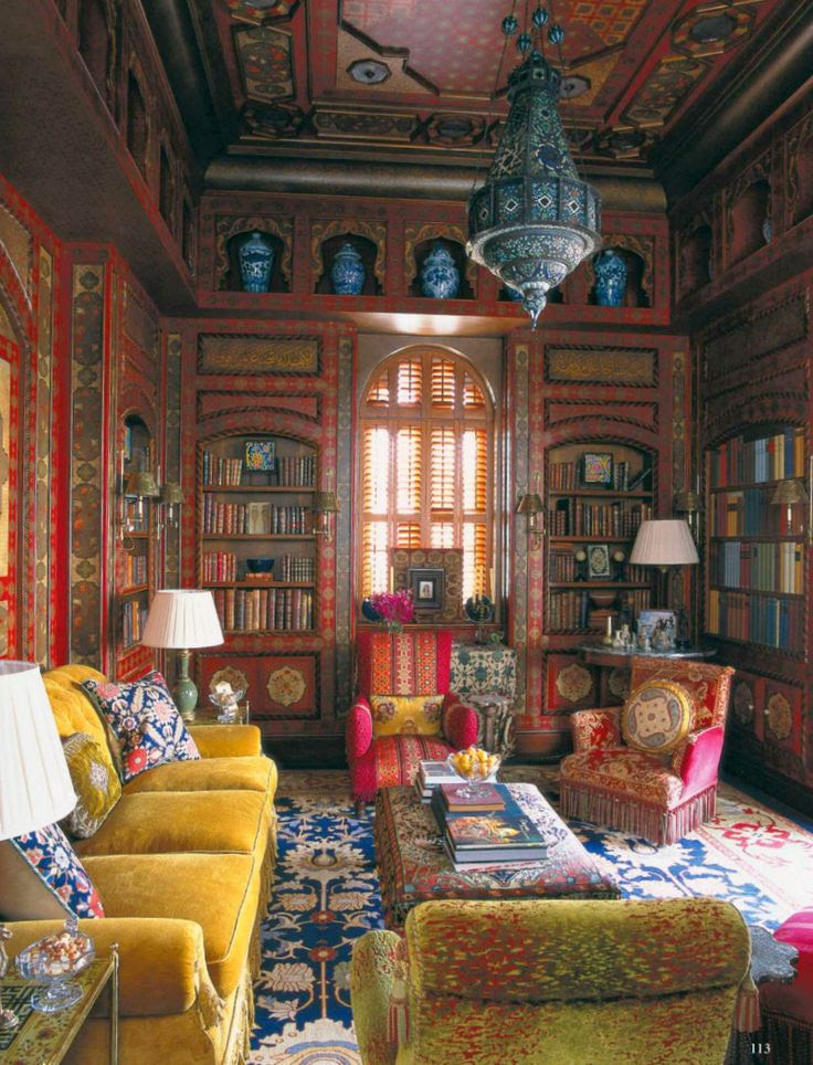 Bohemian Style living room Nutmeg Brown Mustard Yellow and ... | Abode